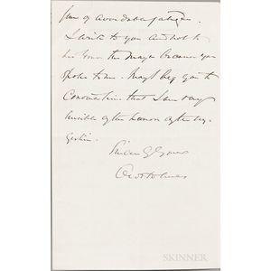 Holmes, Oliver Wendell Jr. (1841-1935) Autograph Letter Signed, 20 March 1900.