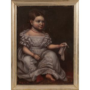 American School, Mid-19th Century      Portrait of a Girl in a White Dress
