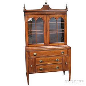Federal Inlaid Mahogany Veneer Secretary/Bookcase