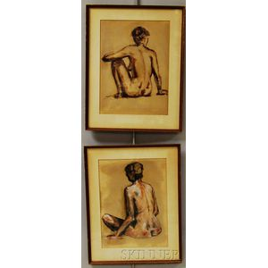 Pair of Framed Crayon Nudes