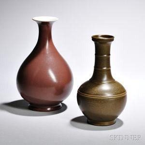 Two Glazed Porcelain Bottles