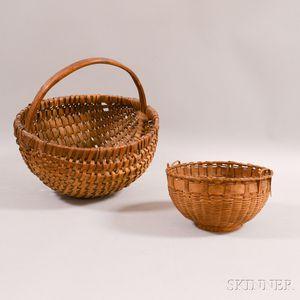 Two Woven Splint Gathering Baskets