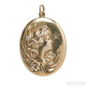 Art Nouveau 14kt Gold and Diamond Locket
