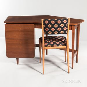 Bertha Schaefer Model 2162 Desk and a Gio Ponti Chair for Singer & Sons