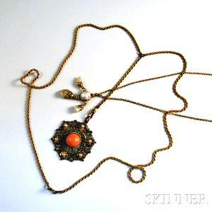 Two Antique Gold Pendants