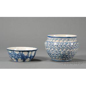 Blue Sponge-decorated Stoneware Bowl and Jardiniere