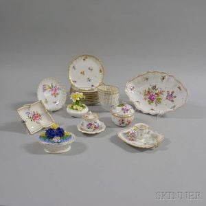 Group of Assorted Floral-decorated Porcelain Tableware.     Estimate $150-250