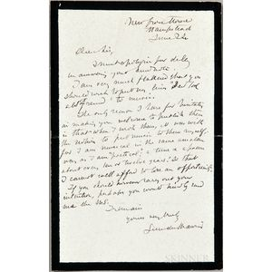 Du Maurier, George (1834-1896) Autograph Letter Signed, 24 June (no year).