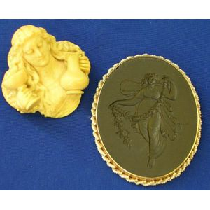 Carved Ivory Brooch of a Woman with Pitcher and Goblet, and a Wedgwood   Medallion