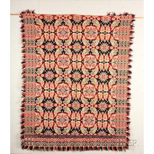 Woven Red, White, and Blue Wool and Cotton Coverlet