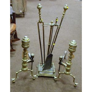 Pair of Brass Ring-turned Andirons and a Hearth Stand with Three Fireplace Tools.
