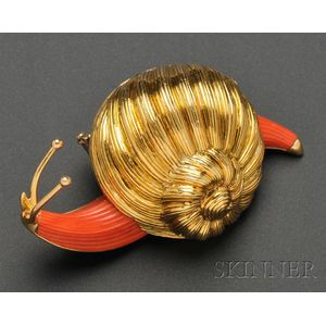 18kt Gold and Coral Snail Brooch, Boucheron, Paris