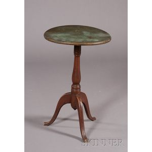 Green and Red-painted Candlestand on Tripod Base