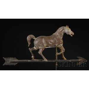 Molded Copper and Zinc Prancing Horse Weather Vane