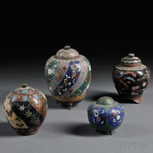 Four Cloisonne Covered Jars