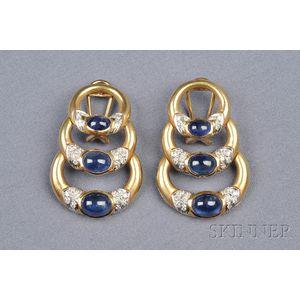 18kt Gold, Sapphire, and Diamond Earpendants