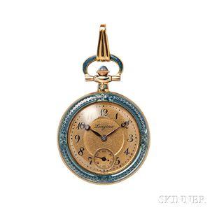 Edwardian 14kt Gold and Enamel Pendant Watch, Longines