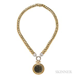 18kt Gold, Ancient Coin, and Diamond Pendant, Tiffany & Co.