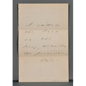 Dickinson, Emily (1830-1886) Autograph Note Signed, undated.