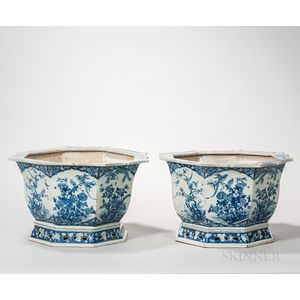 Pair of Chinese Blue and White Octagonal Planters