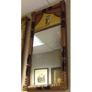 Empire Partial-gilt and Ebonized Split-baluster Mirror with Reverse-painted Glass   Tablet Depicting Children in a Draped Surround