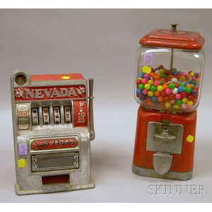 """Vintage Oak Mfg. Co. Glass and Painted Cast Metal Gumball Machine and a """"Nevada""""   Cast Metal Slot Machine"""