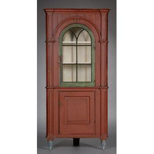 Diminutive Painted and Glazed Corner Cupboard