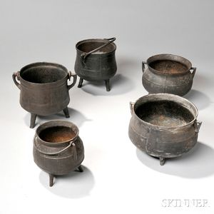 Five Small Cast Iron Pots