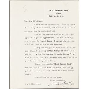 Bennett, Arnold (1867-1931) Typed Letter Signed, 14 April 1926.
