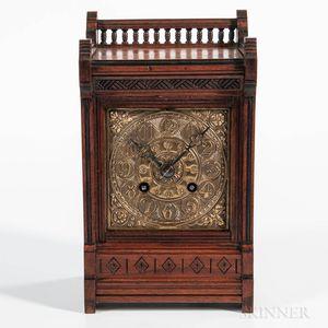 Miniature Art Nouveau Walnut Mantel Clock