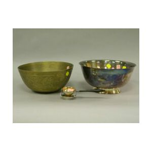 Chinese Brass Fruit Bowl, a Silver Plated Presentation Revere Bowl and a Sterling Silver and Ebony Tea Strainer.