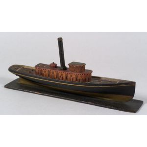 Carved, Inlaid, and Painted Steam Trawler Model