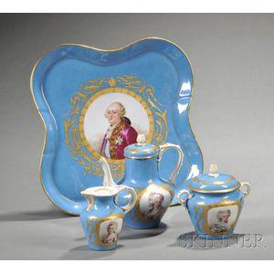 Sevres-style Four-piece Porcelain Tea Set