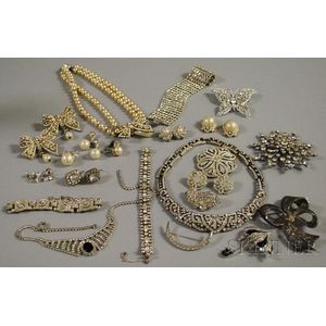 Group of Paste, Rhinestone, and Pearl Costume Jewelry