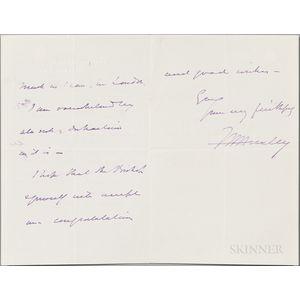 Huxley, Thomas Henry (1825-1895) Autograph Letter Signed, 6 June 1884.