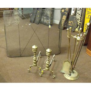 Pair of Brass Ring-turned Andirons, a Set of Three Brass Fireplace Tools with Stand, a Pair of Tongs, and a Wire Mesh Dome Firescreen.