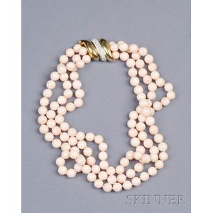 Multi-strand Angelskin Coral Bead and Diamond Necklace