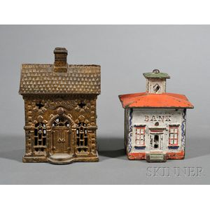 Two Small Painted Cast Iron Architectural Still Banks