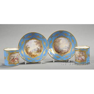 Pair of Sevres-style Porcelain Coffee Cans and Saucers