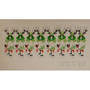 Framed South West Painting of Deer Dance