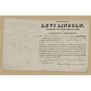 Levi, Lincoln, Sr. (1749-1820) Military Commission Signed, 30 April 1831.