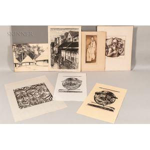 Seven 20th Century Works on Paper:    Leonard Baskin (American, 1922-2000), Head of a Man