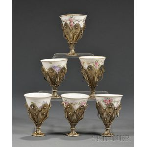 Group of Six Continental Silver and Russian Porcelain Wine Cups