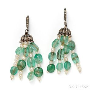 Emerald and Cultured Pearl Earpendants