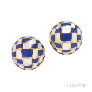 """18kt Gold, Lapis, and Mother-of-pearl """"Basket Weave"""" Earrings, Tiffany & Co."""