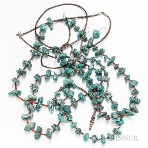 Group of Turquoise Nugget and Banded Agate Necklaces.     Estimate $200-300