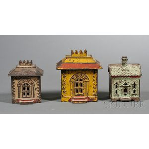 Three Small Painted Cast Iron Architectural Still Banks