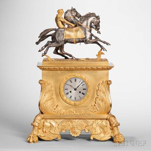 Ormolu-mounted Gilt Figural Mantel Clock