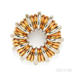 18kt Bicolor Gold Circle Brooch, Tiffany & Co.