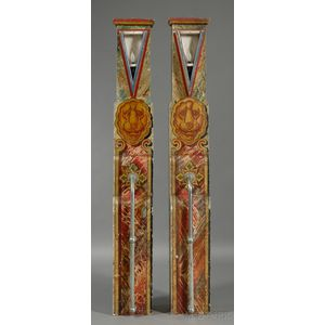 Pair of Art Deco Painted Wooden Carnival Columns